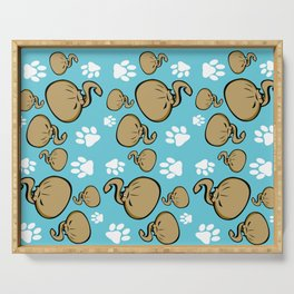 Dumpling Cat blue pattern Serving Tray