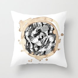 Coffee Stained Crawfish Boil-Louisiana Series Throw Pillow