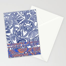 Ornate White and Blue Stripe Stationery Cards