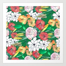 Colorful Hand Drawn Flowers Green Girly Design Art Print