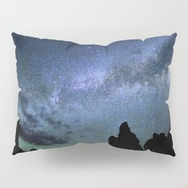 Milky Way Mountains Silhouette Pillow Sham