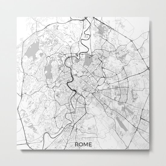 Rome City Map Gray Metal Print