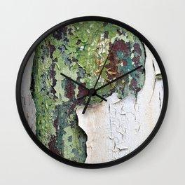 white green paint rust metal texture pattern Wall Clock
