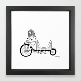 Concerning the very unusual ramp re-locating four pedaled bicycle. Framed Art Print