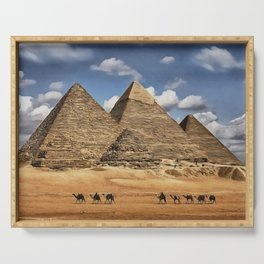 0M-101 - Egypt Pyramids of Giza, Afican desert scenery, Desert pyramids Travel art, Africa Art decor,  Serving Tray