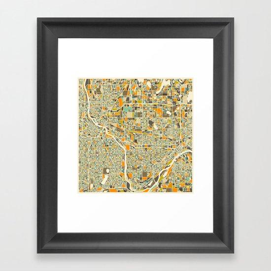 Twin Cities MAP Framed Art Print