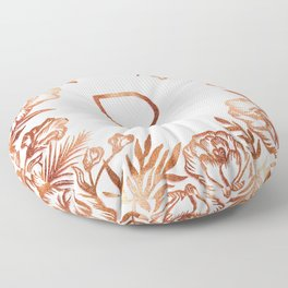 Letter R - Faux Rose Gold Glitter Flowers Floor Pillow