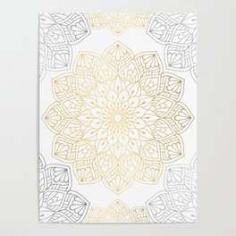 Gold Silver Mandala Pattern Illustration Poster