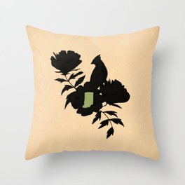 Indiana - State Papercut Print Throw Pillow