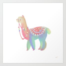 Colorful Alpaca Art Print