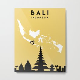 BALI INDONESIA LOVE CITY SILHOUETTE SKYLINE ART Metal Print