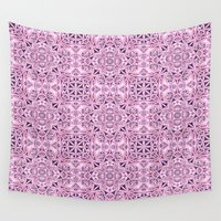 wallpaper Wall Tapestries featuring Pink kaleidoscope wallpaper by David Zydd