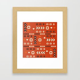 American native shapes in red Framed Art Print