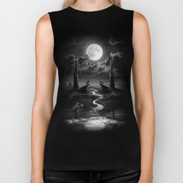 XVIII. The Moon Tarot Card Illustration Biker Tank