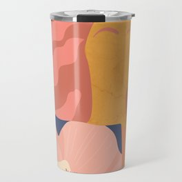 Women with eyebrow in the desert with flowery coat Travel Mug