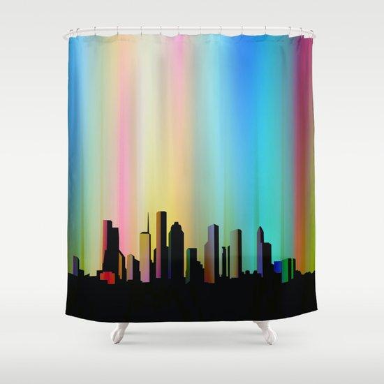 Cityscape through the veil Shower Curtain