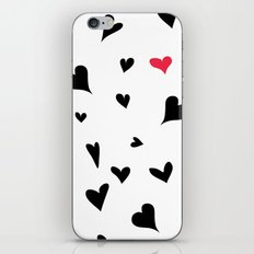 black hearts with one pink one  iPhone & iPod Skin