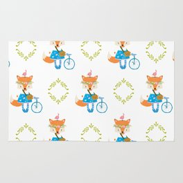 Girl Fox with Bike Pattern Rug