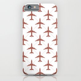 Coral Pink Airplanes Flying Pattern iPhone Case