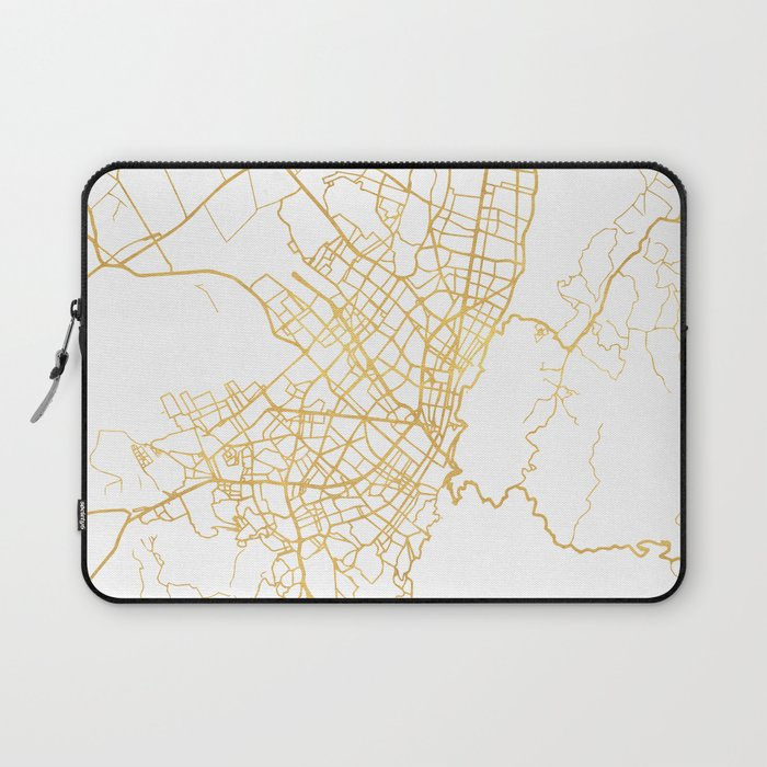 BOGOTA COLOMBIA CITY STREET MAP ART Laptop Sleeve by deificusart