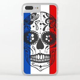 Mexican Skull With French Flag Clear iPhone Case
