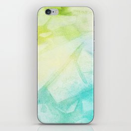 Abstract lime green teal hand painted watercolor pattern iPhone Skin