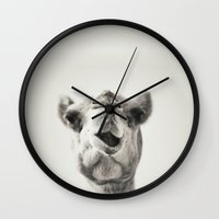 camel Wall Clocks featuring Camel by Maha Ahmad
