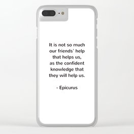 Epicurus - words of wisdom on friendship Clear iPhone Case