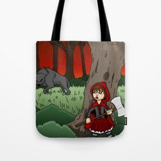 Little Red Riding Hood Versus Big Bad Wolf Tote Bag