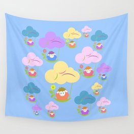 Cute baby sheep flying on clouds Wall Tapestry