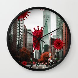 Pandemic - Virus - New York - Digital Collage Artwork Wall Clock
