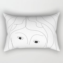 Hair lines a face and black eyes Rectangular Pillow