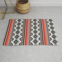 Ethnic and multicolored stripes Rug