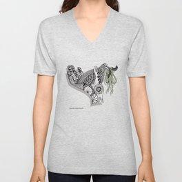 Zentangle Illustration - Peace Dove  Unisex V-Neck