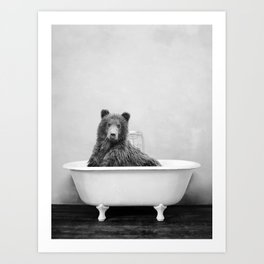 Brown Bear Bathtub Art Print
