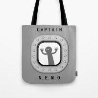 nemo Tote Bags featuring Captain Nemo by Natallia Pavaliayeva