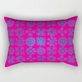 Blue Flowers Pink Backgroud Rectangular Pillow