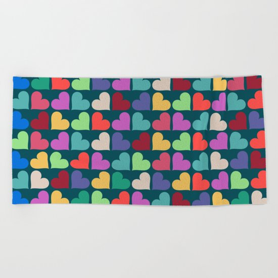 Colorful Love Pattern XII Beach Towel