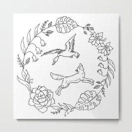 Fox and Loon Playing in Floral Wreath Design — Floral Wreath with Animals Illustration Metal Print