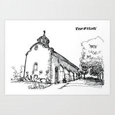 The church of sorrow: Pampigny Art Print