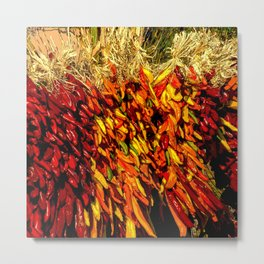 Ristras made from green, yellow, orange and red chile peppers Metal Print