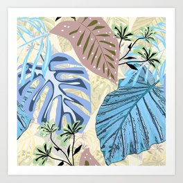 Blue and purple tropical leaves. Art Print
