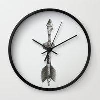 arrow Wall Clocks featuring Arrow by Mary Gaspar