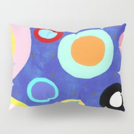 Marine Blue Watercolour Happy Circles Pillow Sham