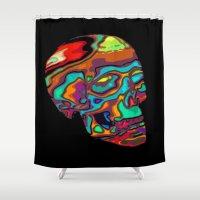lsd Shower Curtains featuring LSD Skull by johannesart