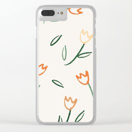 Scattered Tulips Clear iPhone Case