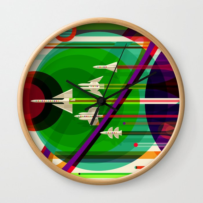 NASA Outer Space Saturn Shuttle Retro Poster Futuristic Explorer Wall Clock