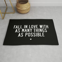 Fall in Love With As Many Things as Possible modern black and white minimalist home room wall decor Rug