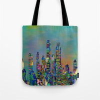 karu kara Tote Bags featuring Graffiti City by Klara Acel