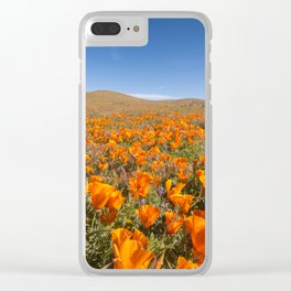 Blooming poppies in Antelope Valley Poppy Reserve Clear iPhone Case
